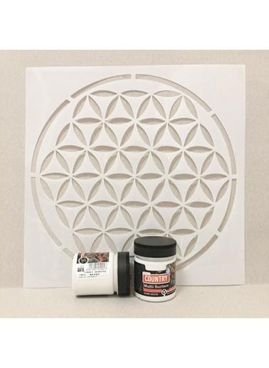 Artikel Stencil ve Boya Seti2 - 1 Adet Yaşam Çiçeği Stencil 30x30 cm ve 1 Adet Multisurface Beyaz Boya Renkli